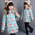 floral printed girls winter jackets cotton padded down jacket for kids girl hooded thicken warm children outerwear coat
