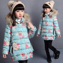Цветочные печатные девушки зимние куртки хлопка проложенный пуховик для детей девушки с капюшоном сгущает теплый дети верхняя одежда пальто