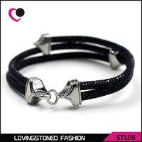 Anti Silver Skull Red CZ Eyes Stingray Gray Leather Bracelet