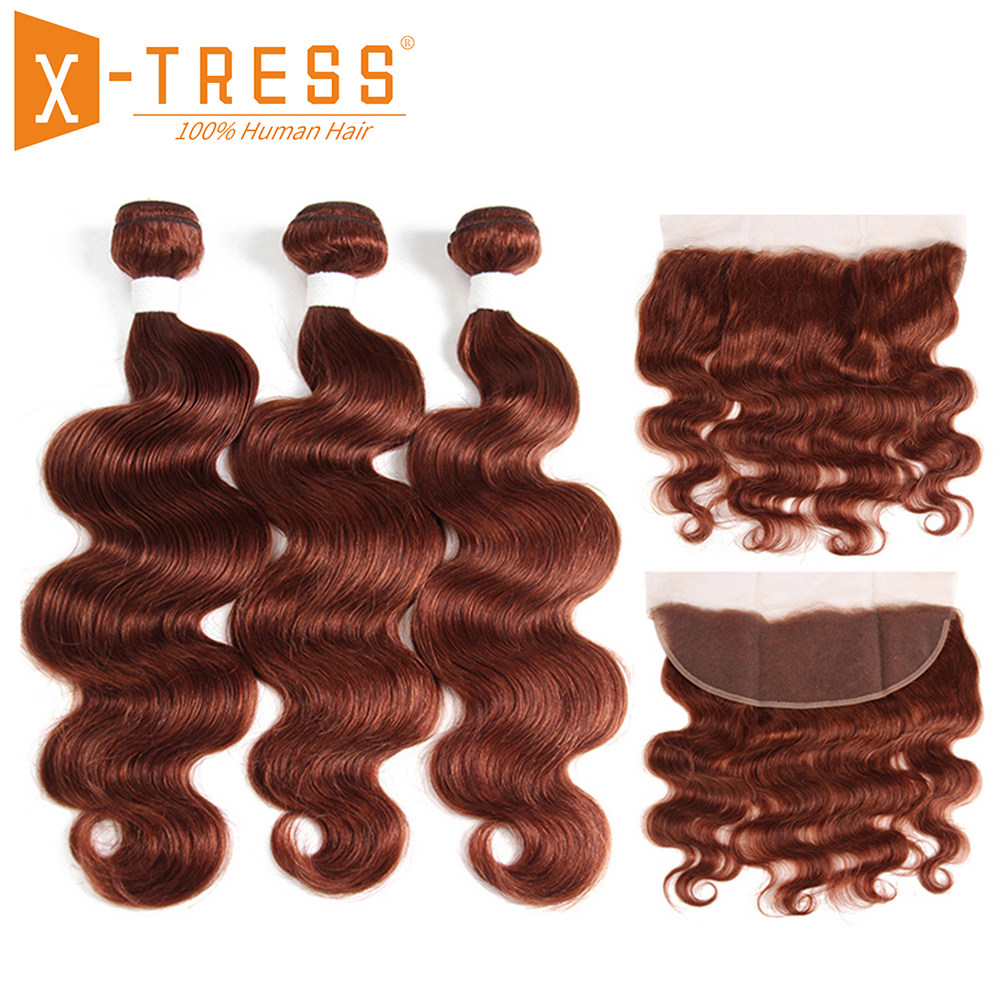 Blonde Brown Color Human Hair Weave 3 4 Bundles Deal With Lace Frontal X TRESS Brazilian