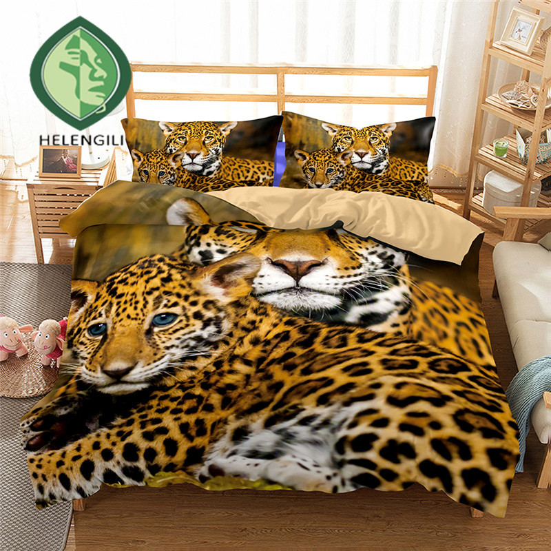 3D Bedding Set Leopard Print Duvet cover set Twin queen ...
