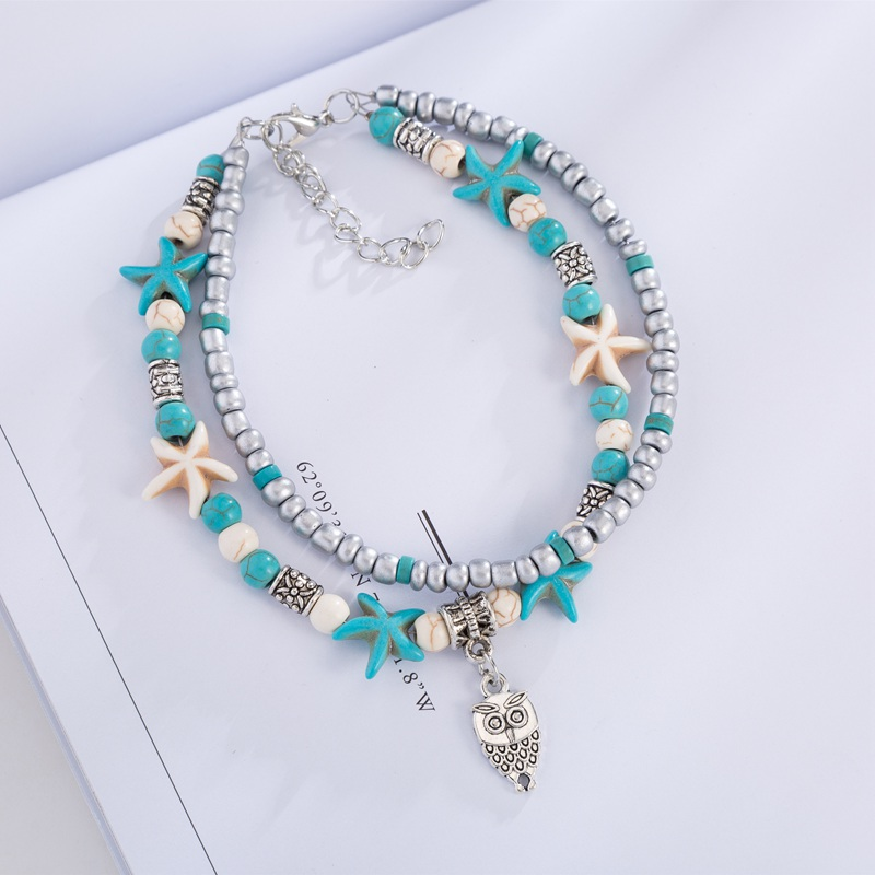 Bohemian Owl Elephant Heart Charm Double Layer Anklets For Women Starfish Seed Beads Foot Leg Bracelet Yoga Beach Jewelry Bijoux in Anklets from Jewelry Accessories
