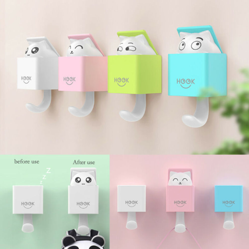 Cat Self Adhesive Hook Hanger Bag Keys Cloth Sticky Holder Wall Door Hook Home Storage Hook Kitchen Organization Hook