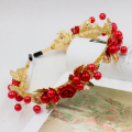 Wedding bridal headwear jewelry luxury brand design gold leaves pearl hair bands red rose headband Baroque hair accessories