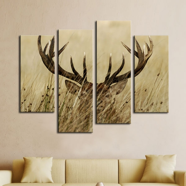 Modular Wall Art Canvas Pictures Home Decor Frames 4 Panels Deer Stag With  Long Antler In