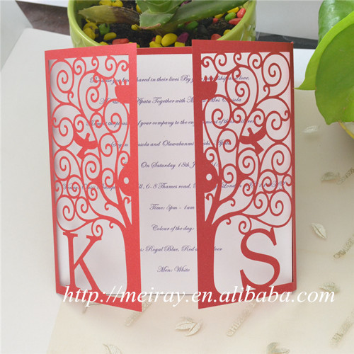Wedding Invitations Paper Crafts Laser Cut Red Wedding Invitations
