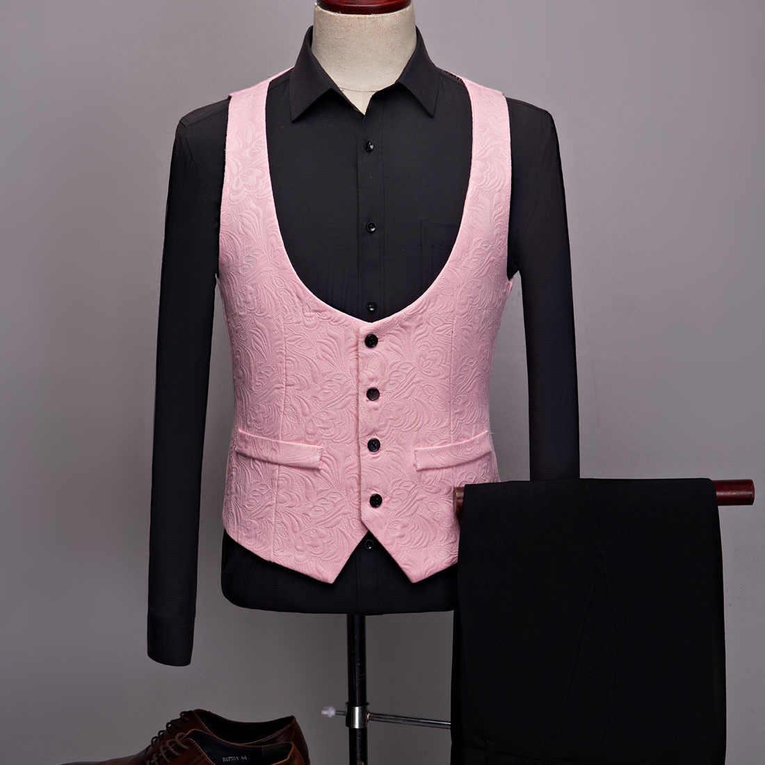 PYJTRL メンズファッションビッグショールラペル 3 枚セットピンク赤青白黒結婚式新郎スーツ品質ジャカード宴会タキシード
