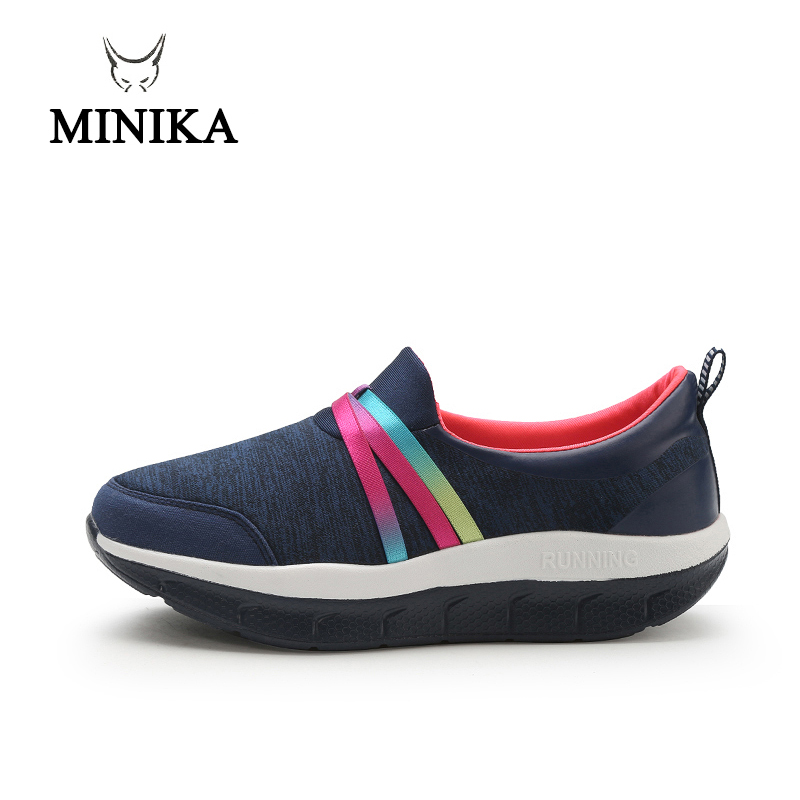 MINIKA Slimming Shoes Women Summer Slip On Sports Shoes Female Fitness Swing Platform Wedge Shoes Lady Lose Weight Healthy Shoes cute strawberry women platform shoes summer mesh body shaping slimming flats fitness lady swing shoes health nurse work sneakers