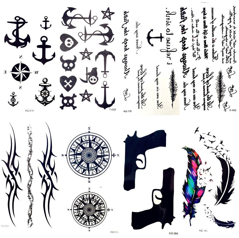 Aliexpress.com : Buy Small Black Anchor Pirate Ghost Fake Tattoo Children Men Finger Temporary