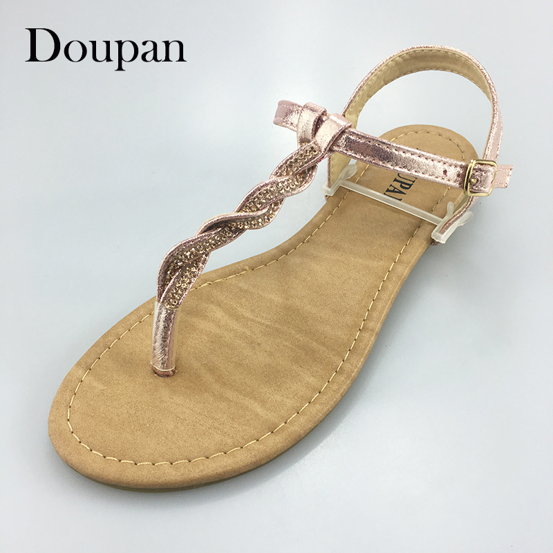 Doupan Sandals Women Summer String Bead Pink Silver Simple Shoes Women  sandalias mujeres капри silver string silver string si021ewruc28