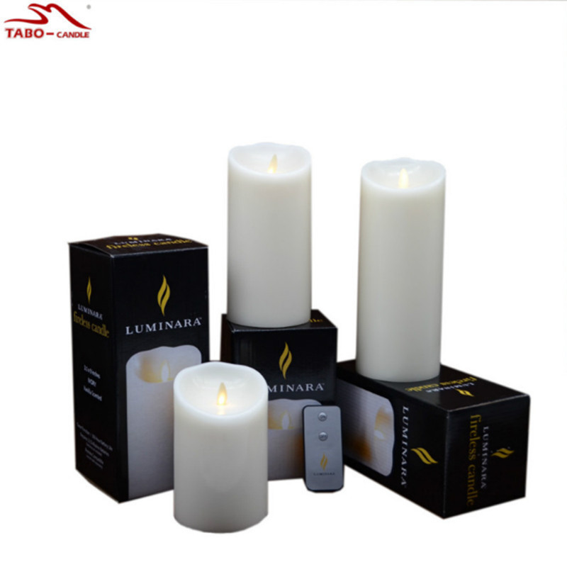35 inches genuine wax luminara candle with remote battery operated flameless led moving wick candle for