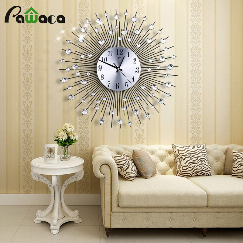 3d Oversize Art Wall Clock Vintage Metal Diamond Silent