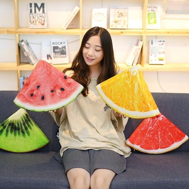 Творческий моделирование летом прохладно арбуз фрукты Подушки Детские мороженое оранжевый иэмон Овальный подушки дивана Пледы Подушки детские