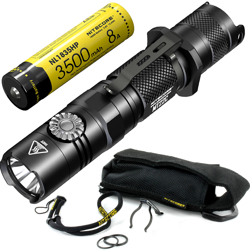 Free Shipping NITECORE MT22C + 18650 Rechargeable Battery Rotary Switch 1000LMs Flashlight Search Rescue Portable Diecast Torch sale nitecore mh12gt 1000 lumen led 18650 3400mah battery usb rechargeable flashlight search rescue portable torch free shipping