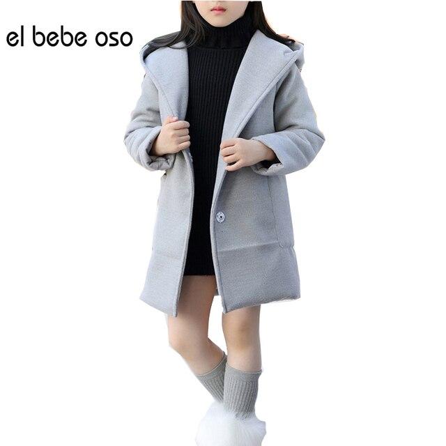 El oso bebe Дети Шерстяное пальто детская Одежда Девочек Зима Новый Стиль Пальто Среднего Детства детская Куртка XL571