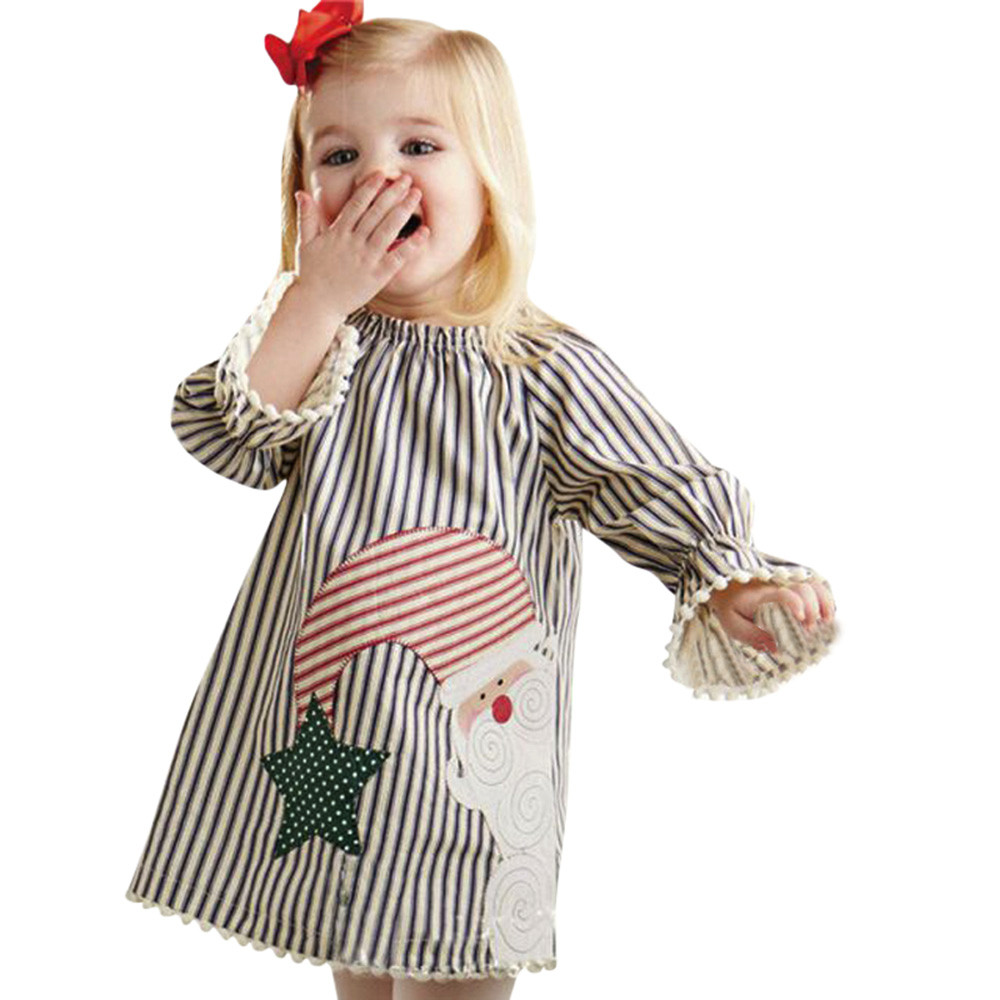Girl Baby Clothing Toddler Kids Baby Girls dress Striped Princess Dress Christmas Outfits Clothes Vestido De Festa Infantil