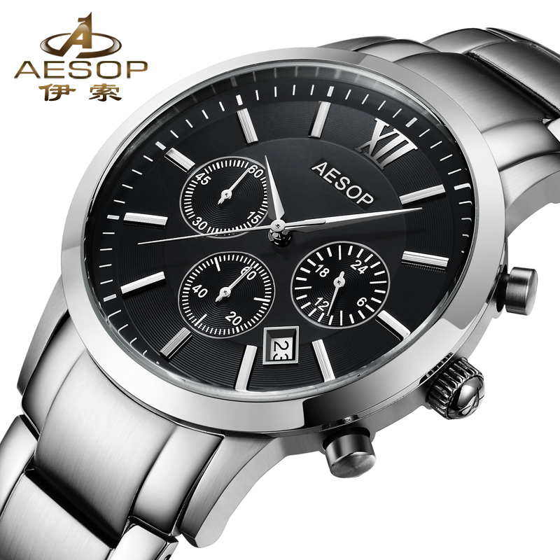 AESOP Sapphire Crystal Watch Men Sport Quartz Stopwatch Wristwatch Stainless Steel Male Clock Relogio Masculino Hodinky xinew male clock men s stainless steel sport watch date quartz watch men clock horloges mannen wristwatch mens men clockz