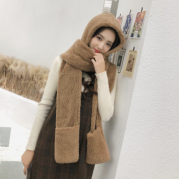 ZDFUR Hat Female Autumn And Winter Scarf Gloves One-piece  Korean Version Of The Tide Wild Students Winter Thick Warm Hat Winter