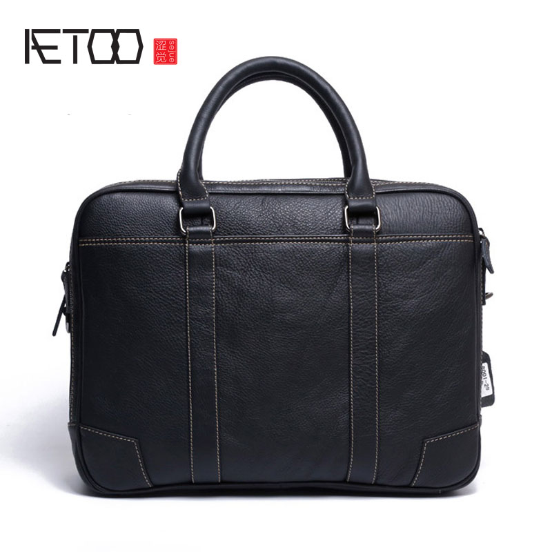 AETOO The first layer of leather leather men's handbag handbag briefcase men business package men bag hand bag polo women golf club clothing bag handbag nylon first layer of leather