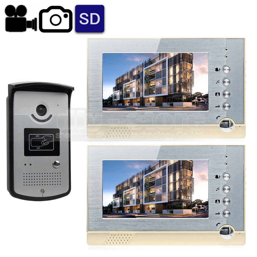 DIYSECUR Video Record / Photograph 7 inch Wired Video Door Phone Intercom Home Security System RFID Camera LED Night Vision 1V2