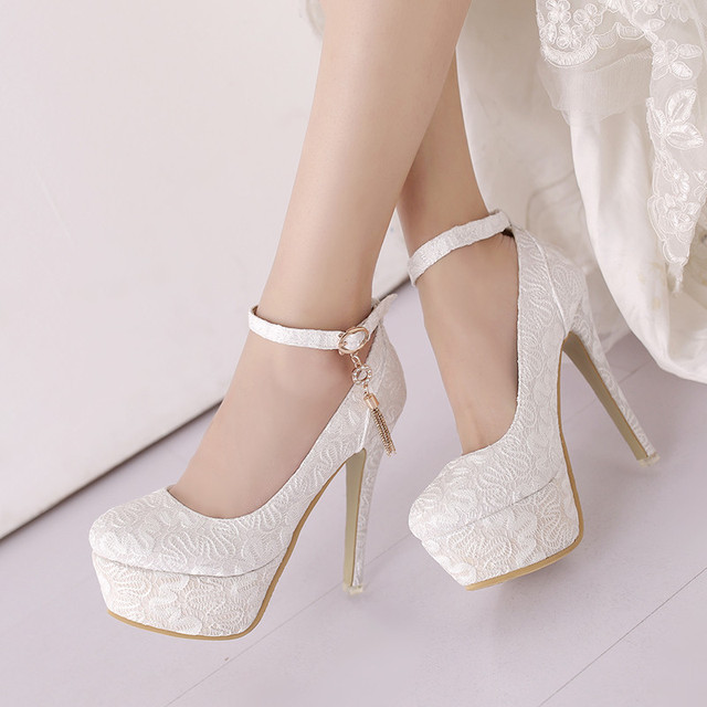 9b5bb71b5 YMECHIC 2018 Lace Whtie Red Yellow Wedding Shoes Bride Extreme High Heels  Platform Shoes Ankle Strap Party Ladies Women Pumps