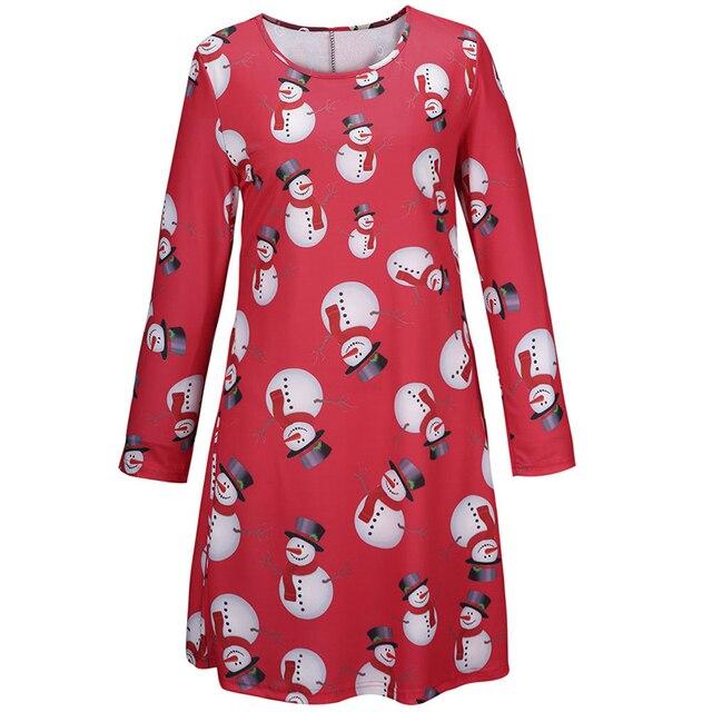 80b5effaee7b8 New 2015 Women Long Sleeve Swing Dress Snowman Xmas Santa Claus Printed  Tunic Dress Christmas Party Costumn Chic Skater Dress
