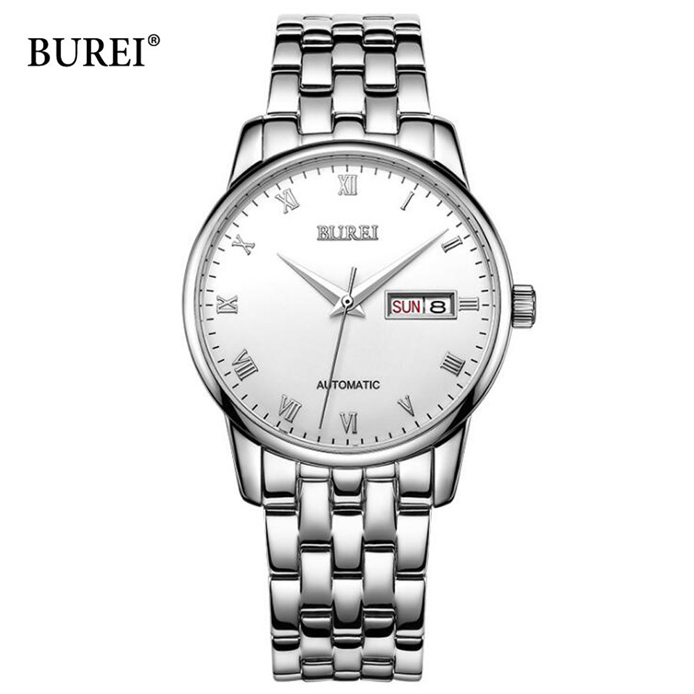Top Brand BUREI Mechanical AUTO Date Business Stainless Steel Band Business Watches Men 50M Waterproof Man Automatic Watch man automatic mechanical watches burei fashion brand male luxury clock calendar sapphire steel band 50m waterproof watch mens