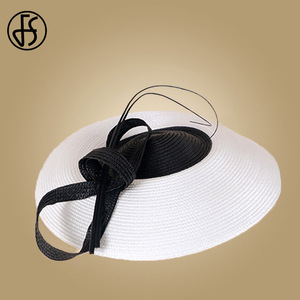 Image 5 - FS Fascinators Black And White Weddings Pillbox Hat For Women Straw Fedora Vintage Ladies Church Dress Sinamay Derby Hats