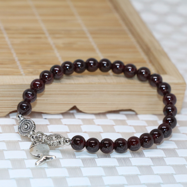 Wholesale price women beaded bracelets natural garnet round beads 6mm elegant new arrival free shpping jewelry making B2101
