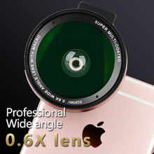 Zomei 2 in 1 0.6X Wide Angle Lens with Clip 37mm Macro High Definition Mobile Phone Lens for iphone6s samsung Android ios phones
