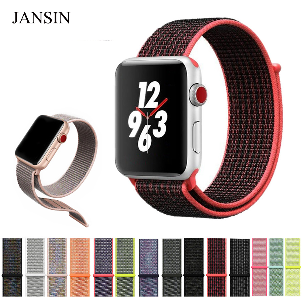 JANSIN Woven Nylon bands for Apple Watch band 38mm 42mm 40mm 44mm sport loop bracelet iWatch watch band series 1 2 3 4