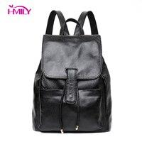 HMILY Women Backpack Genuine Leather Cover College Students School Bag Natural Cowhide Shoulder Bag Ladies Big Women Travel Bag
