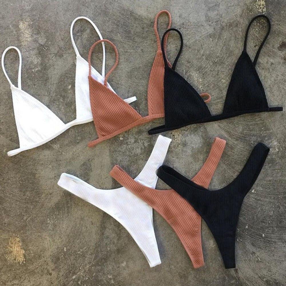 Bandeau Tanga Bikini Ribbed Bikinis 2018 Sexy High Cut Bikini Set Brazilian Swimsuit Thong Swimwear Women Girls Swimming Suit