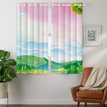 Darkening Blackout Curtains 2 Panels Grommet for Bedroom Spring Landscape Watercolor Tree Pink Cloud