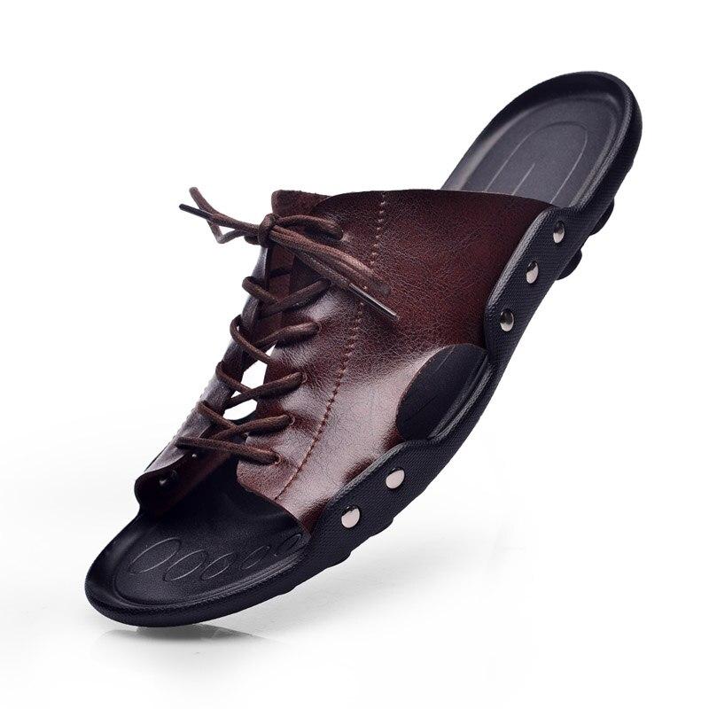 Chaussures Cuir Sandales En De Sandalet D'été brown Mode Flip Paresseux Flops Vache Black Hommes Pantoufles Diapositives Véritable Britannique Plage Marée xv5aWYqwzT