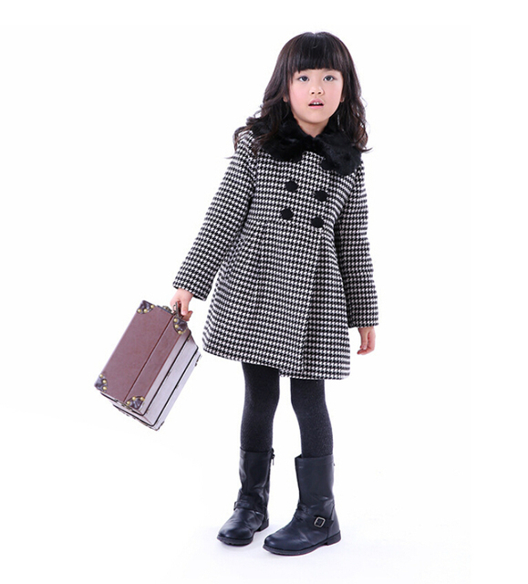 Девушка Осень Зима Шерстяное Платье Новый 2015 Мода Новорожденных Девочек Хаундстут Шерстяное Пальто Куртки Детей И Пиджаки Пальто 6