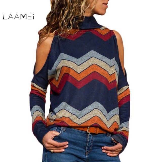 Laamei 2019 סתיו נשים סוודר סקסי קר כתף גולף סוודרים סוודר פסים הדפסת Loose מקרית סוודר גבירותיי Jumper