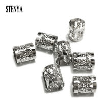 STENYA Crimp Beads Handbag Strap Connector Tubes Spacers Hollow Filigree Leather Cord Necklace Ends Connector Tassels Jewelry(China)