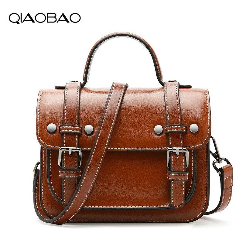 все цены на QIAOBAO Genuine Leather Luxury Handbags Women Bag Designer Shoulder Crossbody Bags Female Satchel Ladies Leather Messenger Bag