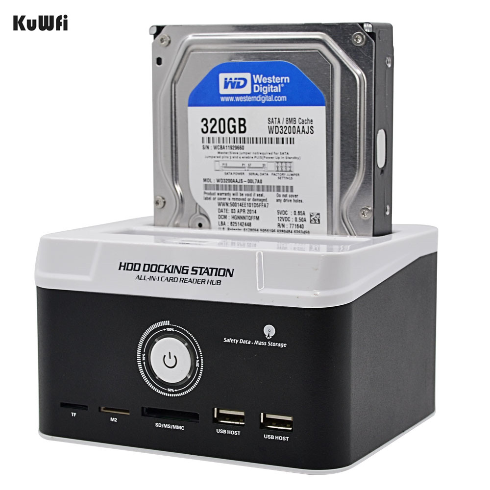 KuWFi USB 2.0 to SATA IDE 2.5 3.5 HDD Box Hard Disk Driver Enclosure Card Reader 3TB All In 1 One HDD Docking Station 1Set all in one hdd docking station dual usb 3 0 2 5 3 5 inch sata external hdd box hard disk drive cloning enclosure card reader