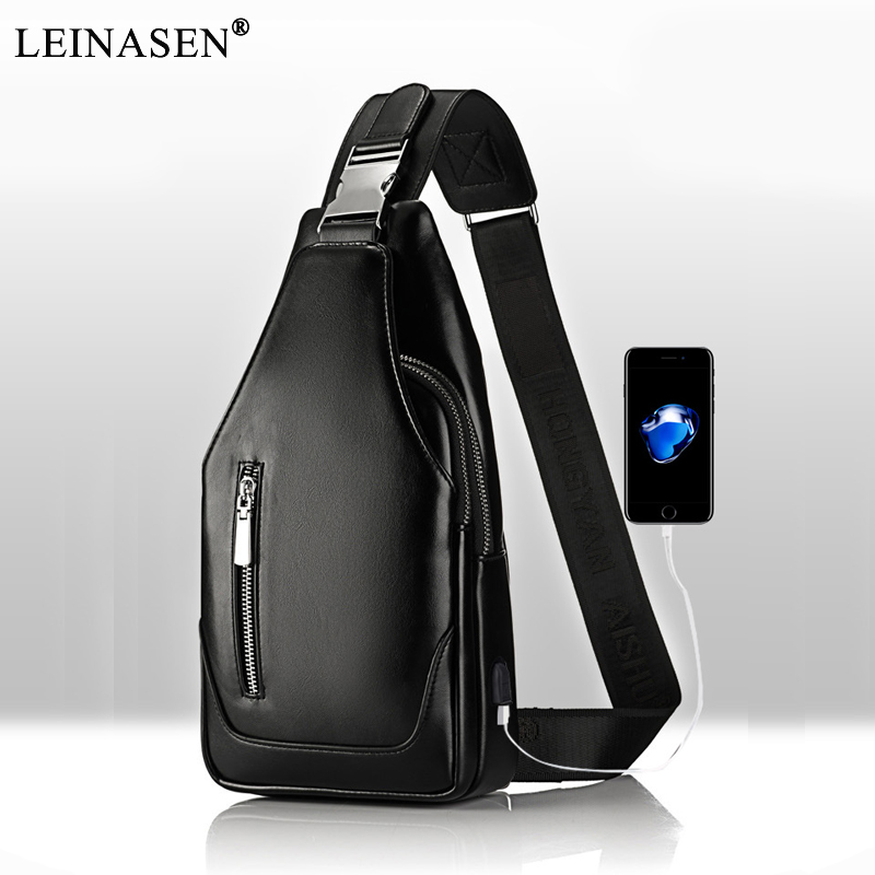 2019 Men Messenger Designer PU Leather Small Chest Bag Men&Female Sling Messenger Bag Fashion Travel Crossbody Bag USB Charging