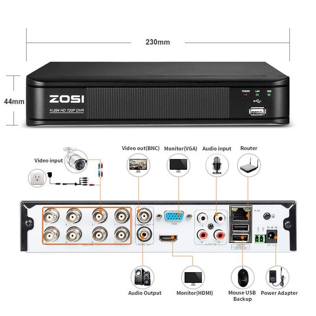 ZOSI 8CH CCTV System 8CH 720P DVR 4PCS 1.0MP IR Weatherproof Outdoor CCTV Camera 1280TVL Home Security System Surveillance Kits