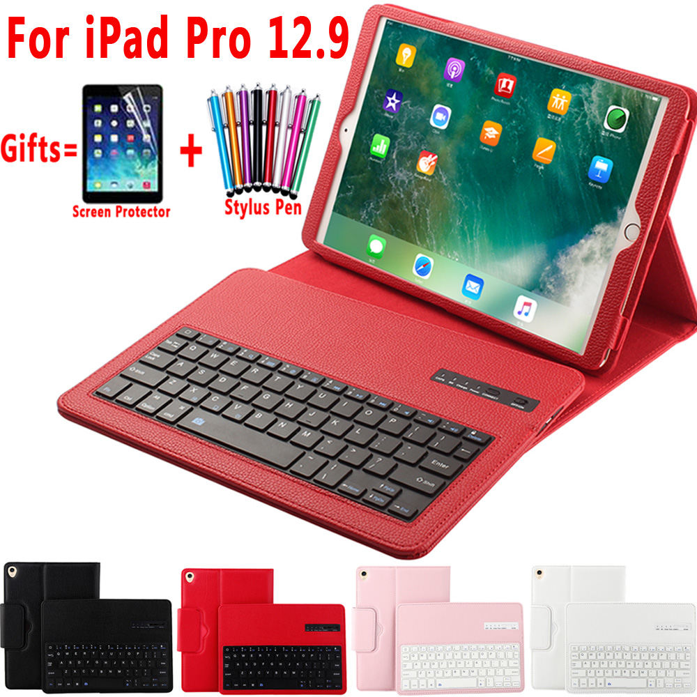 Removable Wireless Bluetooth Keyboard Leather Case Cover for Apple Pro 12 9 2017 2015 A1584 A1652