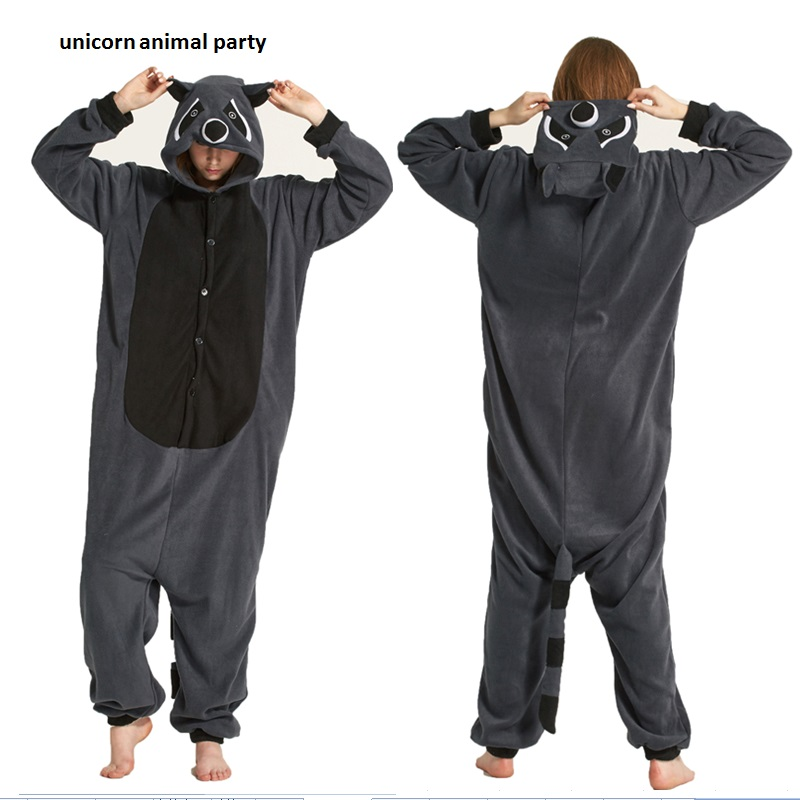 Cosplay kostum za odrasle Cartoon Animal Grey Raccoon Unisex Onesie Pižama Cosplay Kostumi Spalna oblačila Spalna oblačila Halloween pokemon