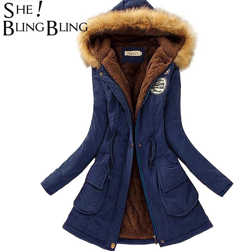 Őszi meleg téli kabát Női divat Női szőrme gallér kabátok kabátok Lady Hosszú Slim Le Parka Hoodies Parkas