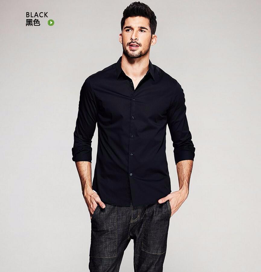 1.1 Mens Dress Shirts Fashion Long Sleeve Cotton Busines black Shirts Men Formal Work Clothing Social Suits shirt