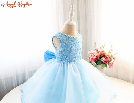 Baby Blue short laces pearls Flower Girl Dress Sleeveless Infant party birthday gown performing prom evening Baby Holiday wear ball gown sky blue open back with long train ruffles tiered crystals flower girl dress party birthday evening party pageant gown