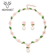Viennois New Gold/Rose Gold Color Flower Jewelry Set For women Simulated-pearl Earrings Necklace Set Party Jewelry Set(China)