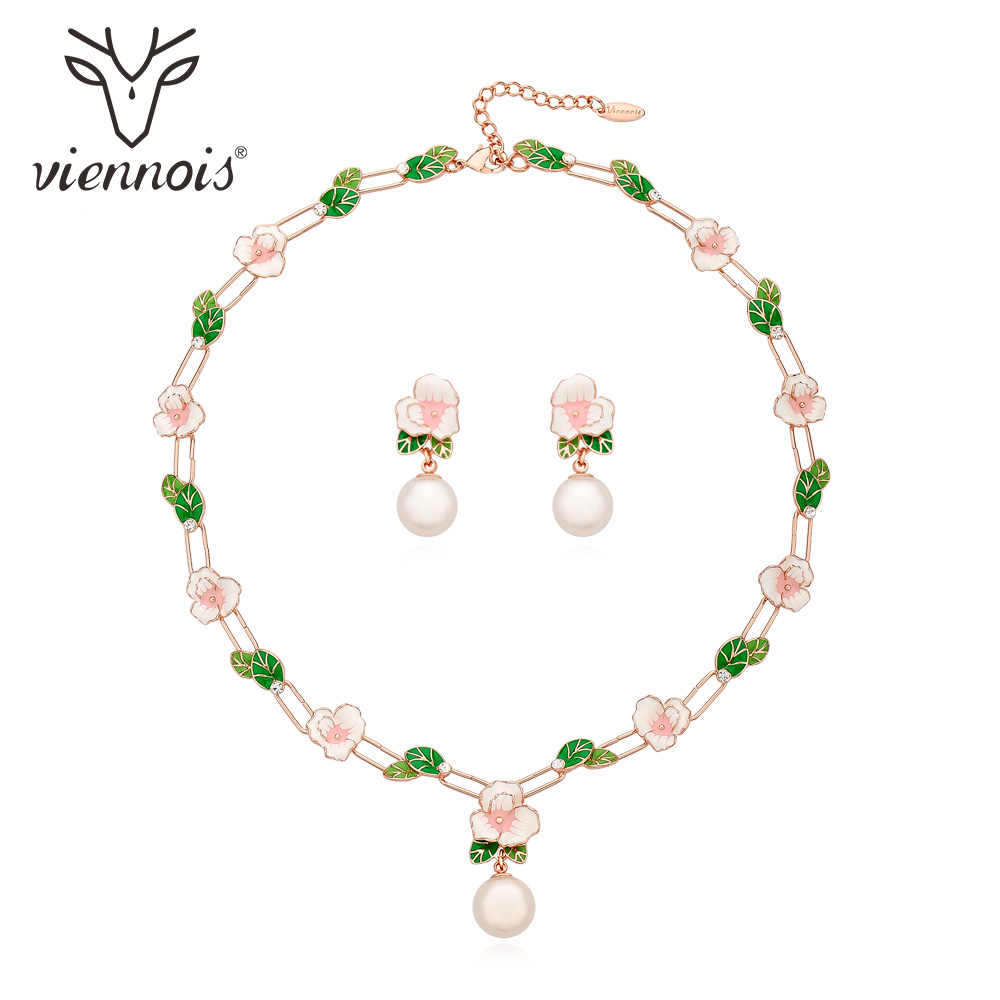 Viennois New Gold/Rose Gold Color Flower Jewelry Set For women Simulated-pearl Earrings Necklace Set Party Jewelry Set