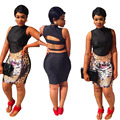 women's suits crop top and shorts skirt set 2 piece set women print sexy backless sleeveless turtleneck summer club night party